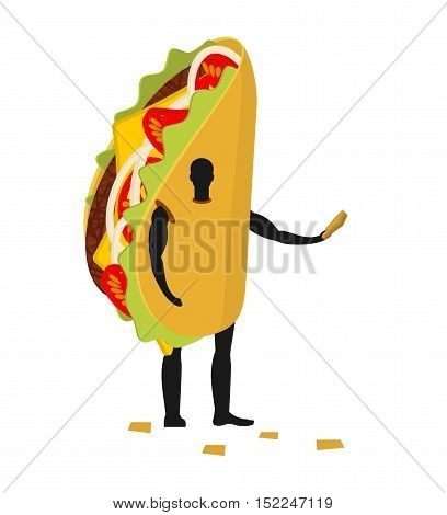 Taco Man Mascot Promoter. Male In Costume Fried Tortilla Distributes Flyers. Puppets Mexican Food En