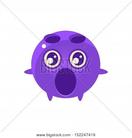 Shocked Round Character Emoji. Cute Emoticon In Cartoon Childish Style Isolated On White Background.