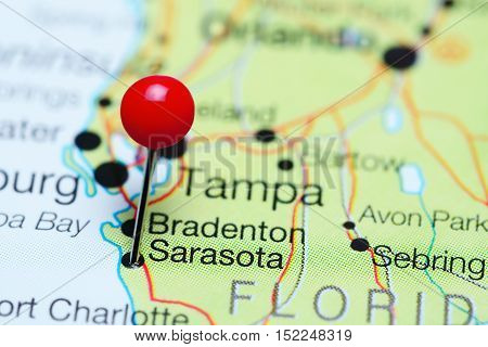 Sarasota pinned on a map of Florida, USA