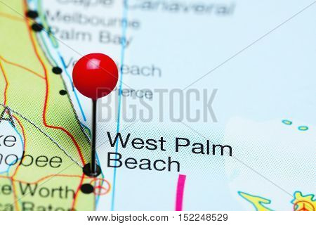 West Palm Beach pinned on a map of Florida, USA