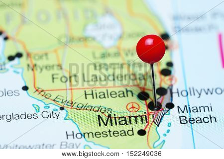 Miami pinned on a map of Florida, USA