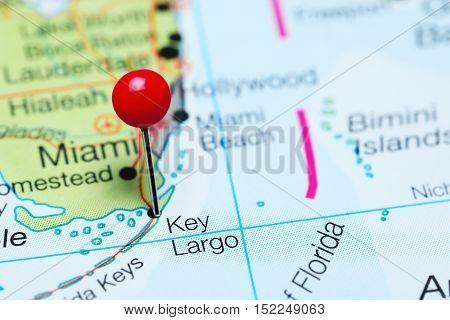 Key Largo pinned on a map of Florida, USA