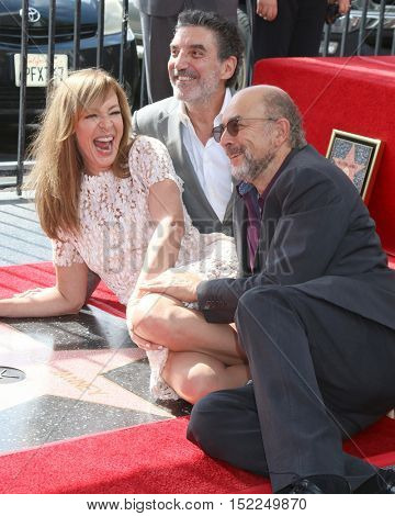 LOS ANGELES - OCT 17:  Allison Janney, Chuck Lorre, Richard Schiff at the Allison Janney Hollywood Walk of Fame Star Ceremony at the Gower and Hollywood on October 17, 2016 in Los Angeles, CA