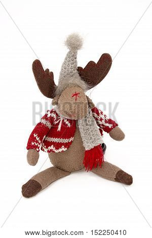 Elk, Soft Doll, Traditional Christmas Decoration Isolated On White.