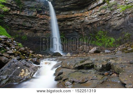 Hardraw force waterfall in Leyburn North Yorkshire.Hardraw Force is England`s largest single drop waterfall a reputed 100 foot drop.