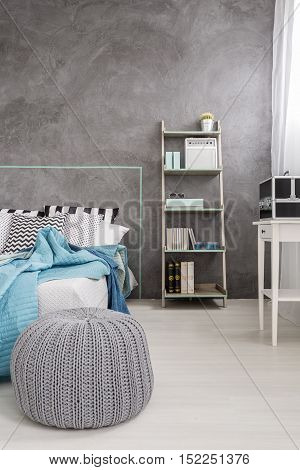 Interior With A Modern Grey Pouf
