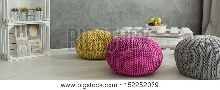 Shot Of Three Colorful Poufs