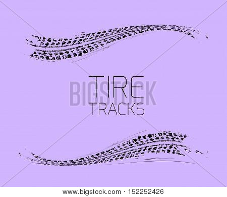 Tire tracks background. Vector illustration on a light purple
