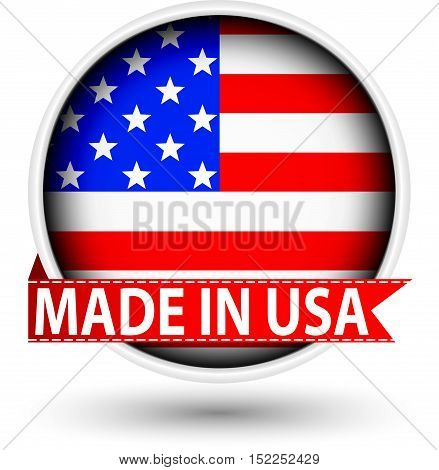 Made In The Usa Label With Flag, Vector Illustration