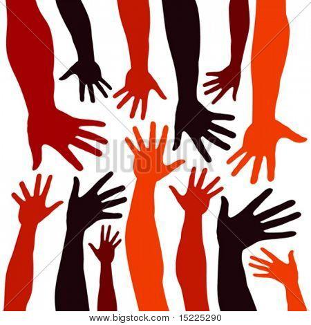 Vector de manos colores al azar