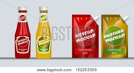 Digital vector red and brown ketchup and mustard plastic package and glass bottle mockup, ready for your logo and design, flat style