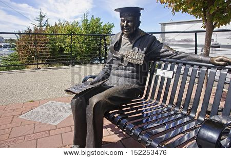 Victoria, Canada - August 27, 2016: Monument In Victoria Harbour