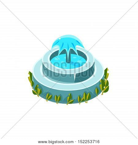 Classy Round Fountain Isometric Garden Landscaping Element. Video Game Landscape Constructor Item In Cute Colorful Design Isolated On White Background.