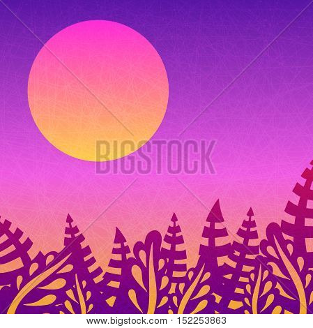 Beautiful pink sunset. Nice gradient background. Big sun. Tropical leaves. Background with leaves, sunsets and the departing sun. Tropical, nature, rest. Background for posters, postcards and prints.