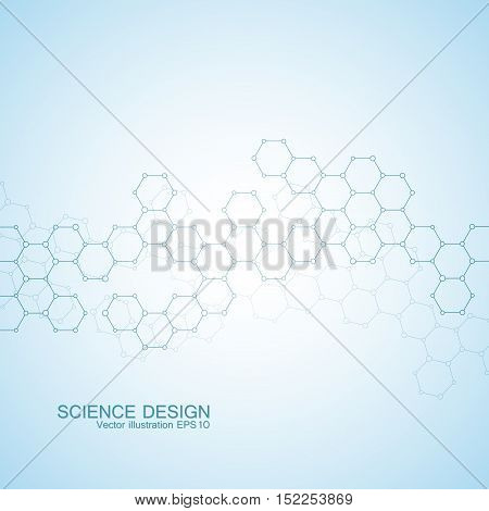 Structure molecule of DNA and neurons. Structural atom. Chemical compounds. Medicine, science, technology concept. Geometric abstract blue background. Vector illustration for your design