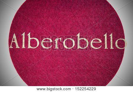 Alberobello Written Of An Italian City With Glitter Font