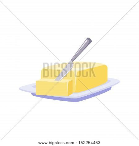 Brick Of Butter On Plate With Knife, Milk Based Product Isolated Icon. Simple Realistic Flat Vector Colorful Drawing On White Background.