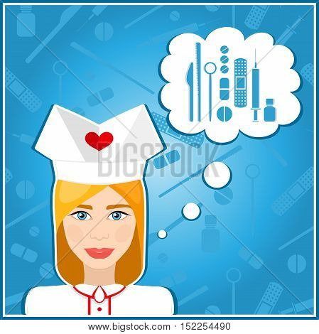 Vector illustrations of a nurses. Nurse, nanny. The girl's face. Icon. Flat icon. Minimalism. The stylized girl. Occupation. Uniforms, nurse cap. Vector girl. Medical instruments, scalpel, syringe.