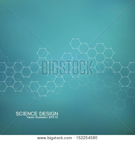 Structure molecule of DNA and neurons. Structural atom. Chemical compounds. Medicine, science, technology concept. Geometric green  abstract background. Vector illustration for your design