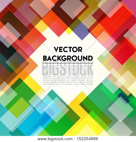 Colorful cubes composition. Background rainbow text. Background template