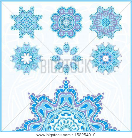 Big set of Christmas snowflakes, circular blue ornaments. Vintage decorative elements. Islam, Arabic, Indian, ottoman motifs. Set of beautiful ethnic, oriental ornaments. Stylized flowers.