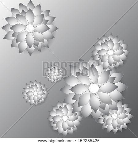 Paper art flower background. Origami flower. Vector stock.