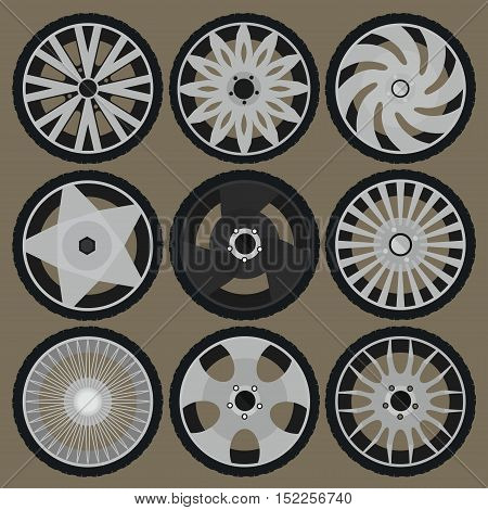 vector illustration of the different tires and wheel rims