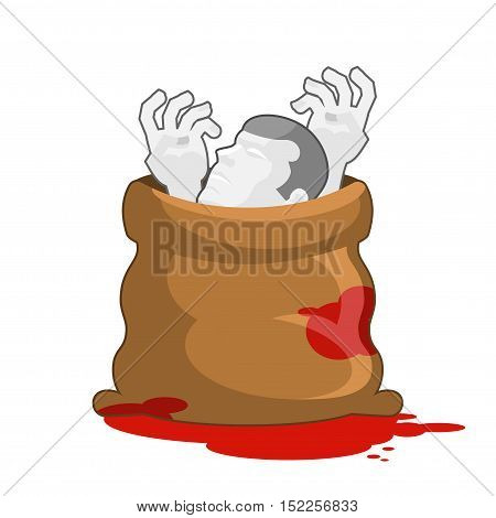 Corpse In Sack With Bloody Puddles. Dissected Dead Body In Bag. Hands And Head Of Deceased. Packing