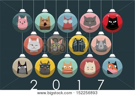 The cover design for new year and Christmas. Depicts the faces of cats with Christmas paraphernalia on a Christmas decorations of the different colors.