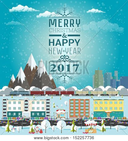 Invitation or winter's card Merry Christmas and Happy New Year. Template flat design vector illustration. City life and urban landscape under the snow. Train rides around the mountains. Winter market.