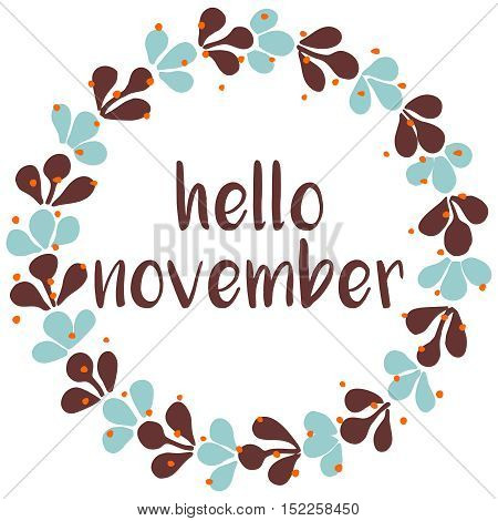 Hello november vector wreath card isolated on white background