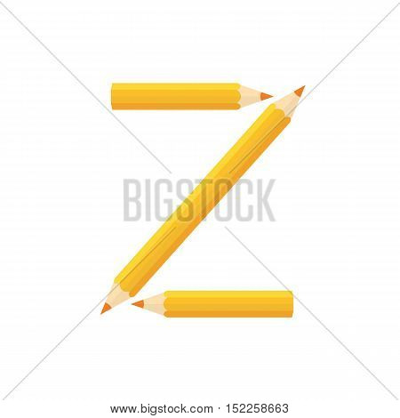 Color Wooden Pencils Concept By Rearrange The Letters Z