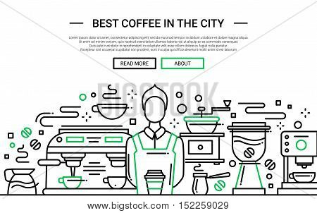 Illustration of vector modern simple line flat design website banner, header with professional barista in coffee shop