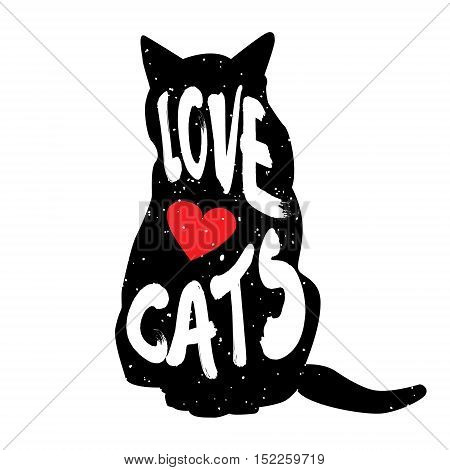 Silhouette of the cat with heart and lettering text Love Cats. Vector illustration