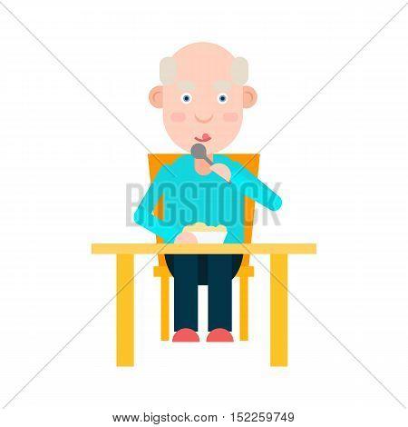 Elderly man eat at the table, lunch for person elderly, senior man dinner, vector illustration