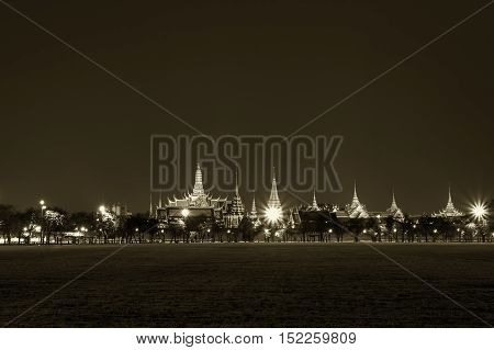 bangkok landmark grand palace and the temple of the Emerald Buddha the Pramane Ground at night in monotone color
