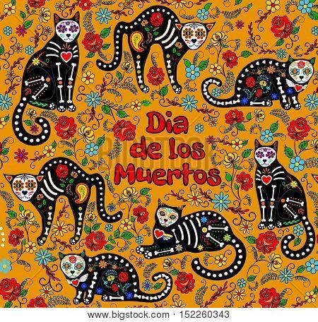 Orange background with calavera cats and sugar skills for Day of the Dead, Dia de los Muertos