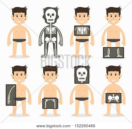 Human and total bone scan ( skull neck shoulder scapula arm elbow forearm wrist hand finger thorax rib spine pelvic hip thigh knee leg ankle foot toe ) flat design