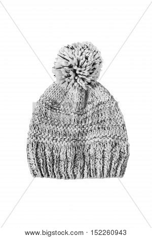Knitted gray pompom hat isolated over white