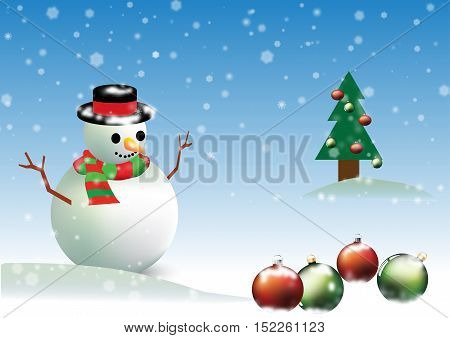 chrismas party snowman and green tree background