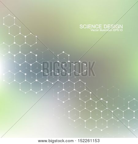 Structure molecule of DNA and neurons. Structural atom. Chemical compounds. Medicine, science, technology concept. Geometric abstract green background. Vector illustration for your design