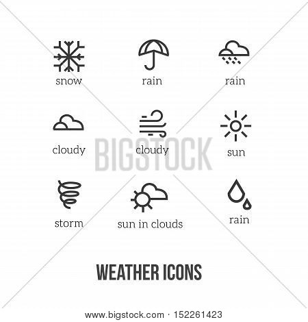Weather icons with main symbols of snow, rain, sun, cloud, storm. Perfect for sites, banners, widgets mobile application