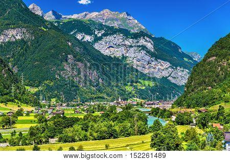 View of Erstfeld, a village in Swiss Alps, canton Uri