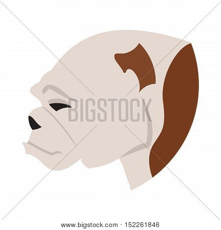Pedigree dog head bulldog flat. Young adorable animal, vector illustration