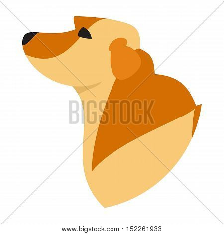 Pedigree dog head labrador retriever golden. Pedigreed lovely pet, vector illustration