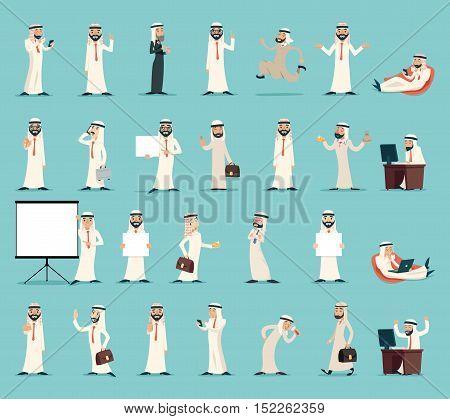 Arab Businessman and Character Icons Set Retro Vintage Cartoon Design Vector illustration