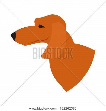 Dog head dachshund. Purebred friendly doggy in flat style, vector illustration