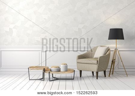 3d clean interior with chair and floor lamp