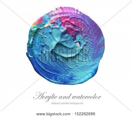 Abstract acrylic and watercolor circle painted background. Isolated.