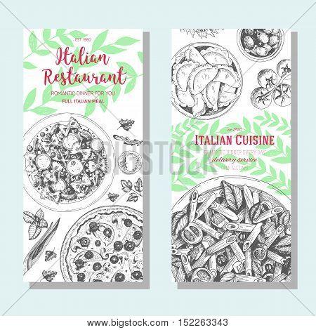 Italian food vintage design template. Vertical banners set. Vector illustration hand drawn linear art. Italian Cuisine restaurant menu. Hand drawn sketch vector flyers.